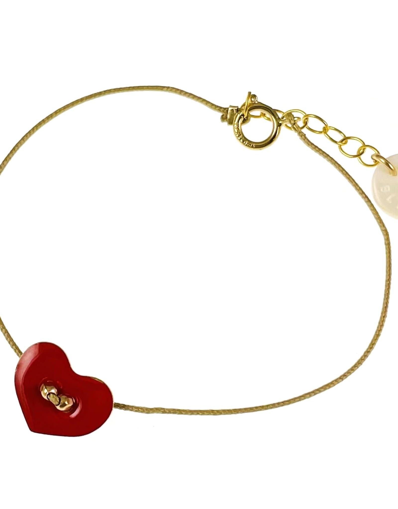 Bracelet - Corde beige et coeur rouge