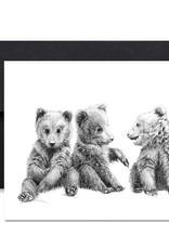 Le Nid atelier Carte de souhaits - 3 bébés oursons