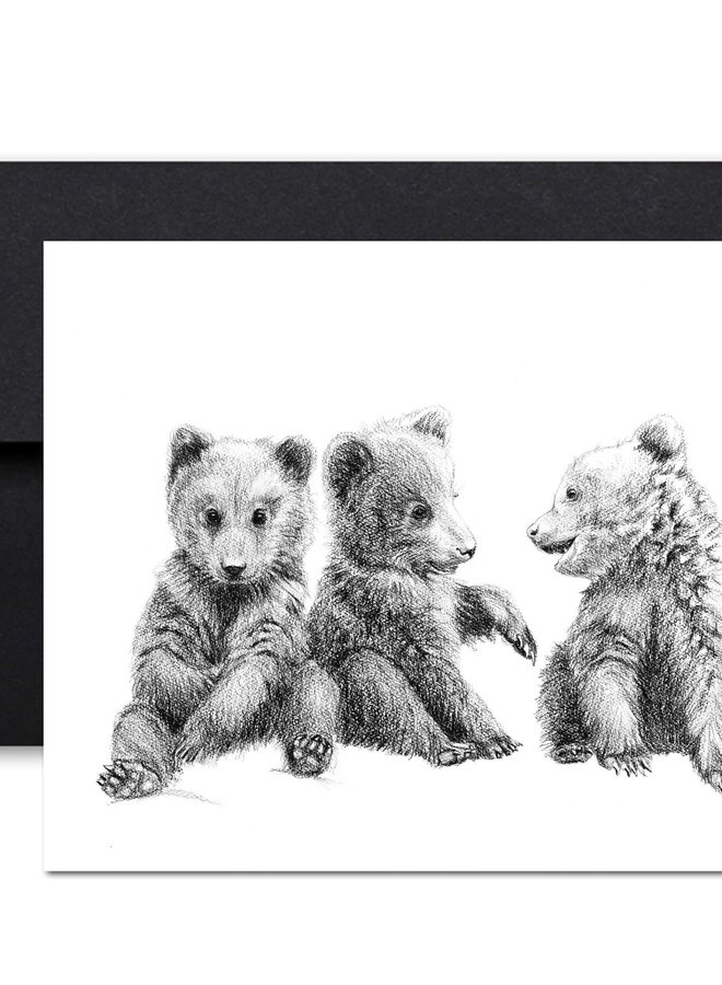 Carte de souhaits - 3 bébés oursons