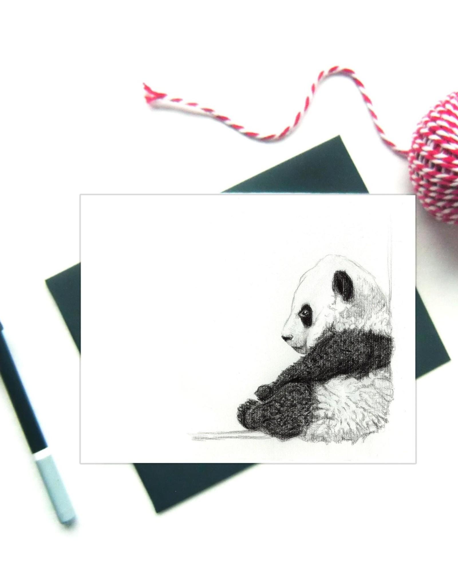 Le Nid atelier Carte de souhaits - Bébé panda assis