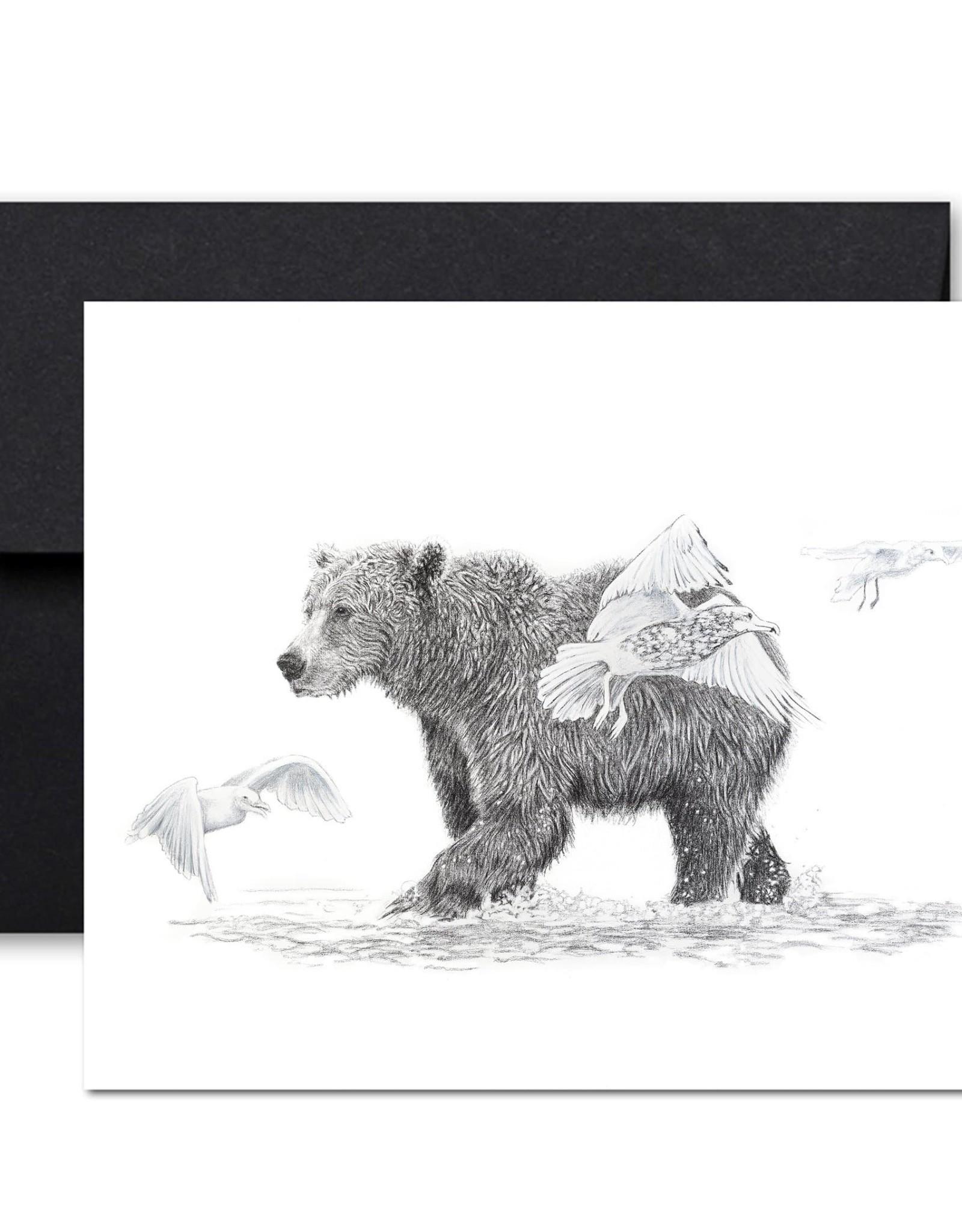 Le Nid atelier Carte de souhaits - Grizzly avec oiseaux