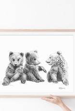 Le Nid atelier Illustration 8x10 - 3 bébés oursons
