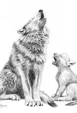 Le Nid atelier Illustration 8x10 - Maman loup et bébé