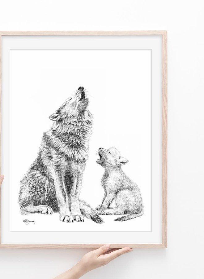 Illustration 8x10 - Maman loup et bébé