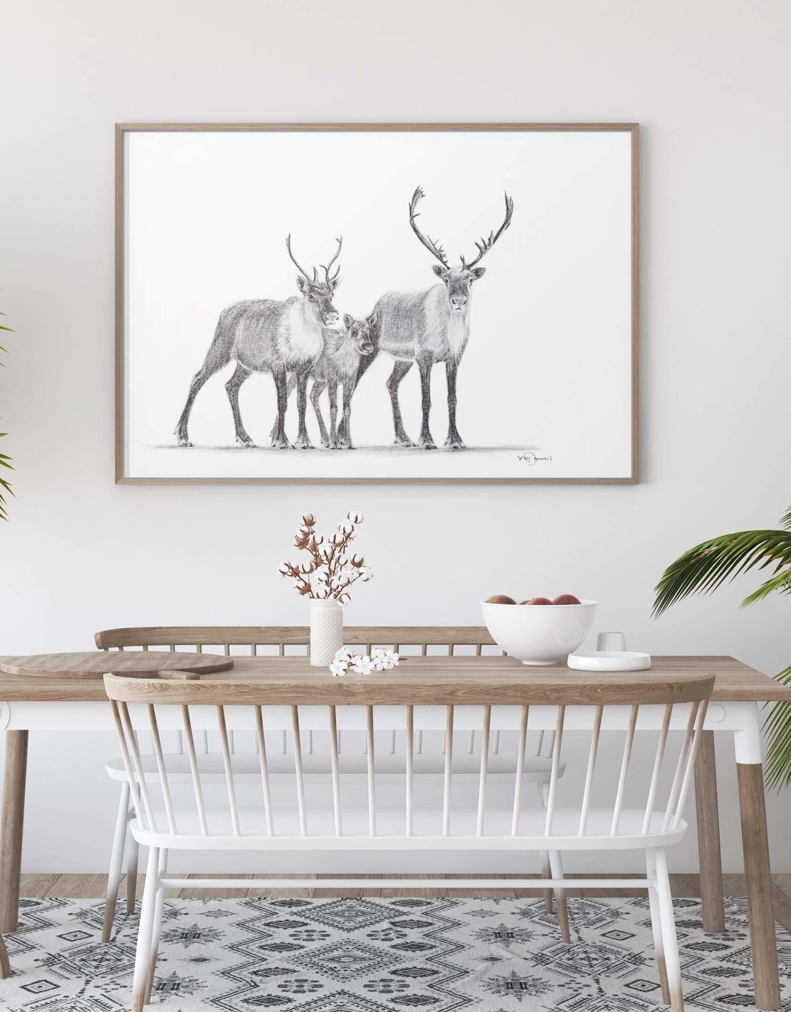 Le Nid atelier Illustration 12x18 - Famille caribou