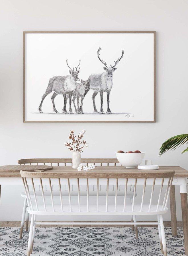Illustration 12x18 - Famille caribou