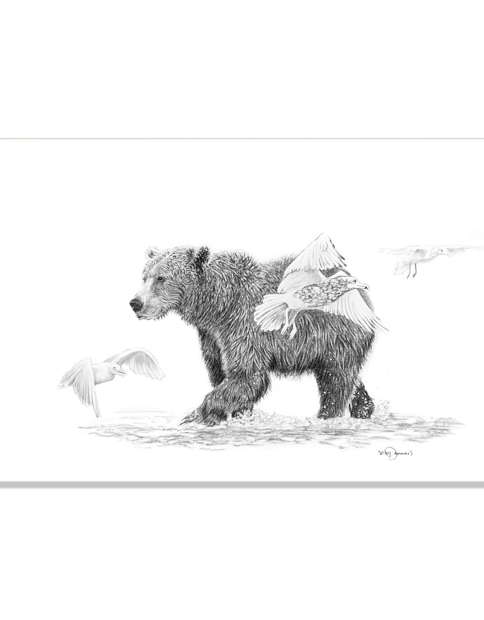 Le Nid atelier Illustration 18x24 - Grizzly avec oiseaux