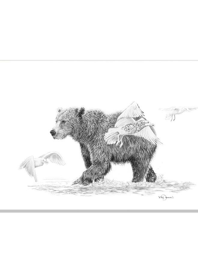 Illustration 18x24 - Grizzly avec oiseaux