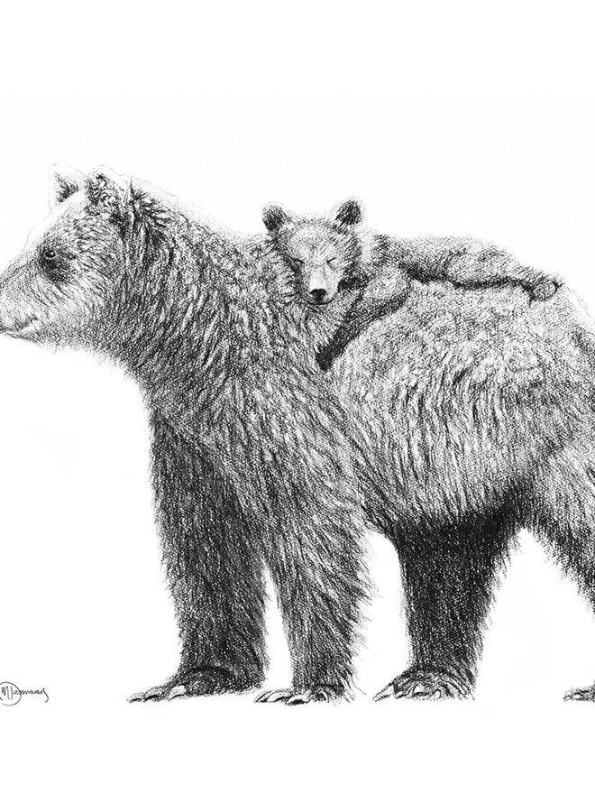 Illustration 8x10 - Maman ours et bébé