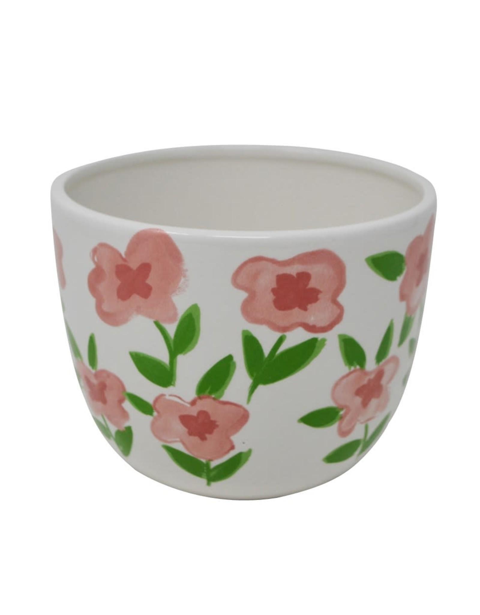 Cache-pot - Fleuri blanc