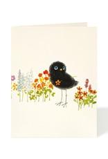 Carte de souhaits - Oiseau noir et fleurs
