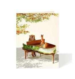 Carte de souhaits - Ours au piano
