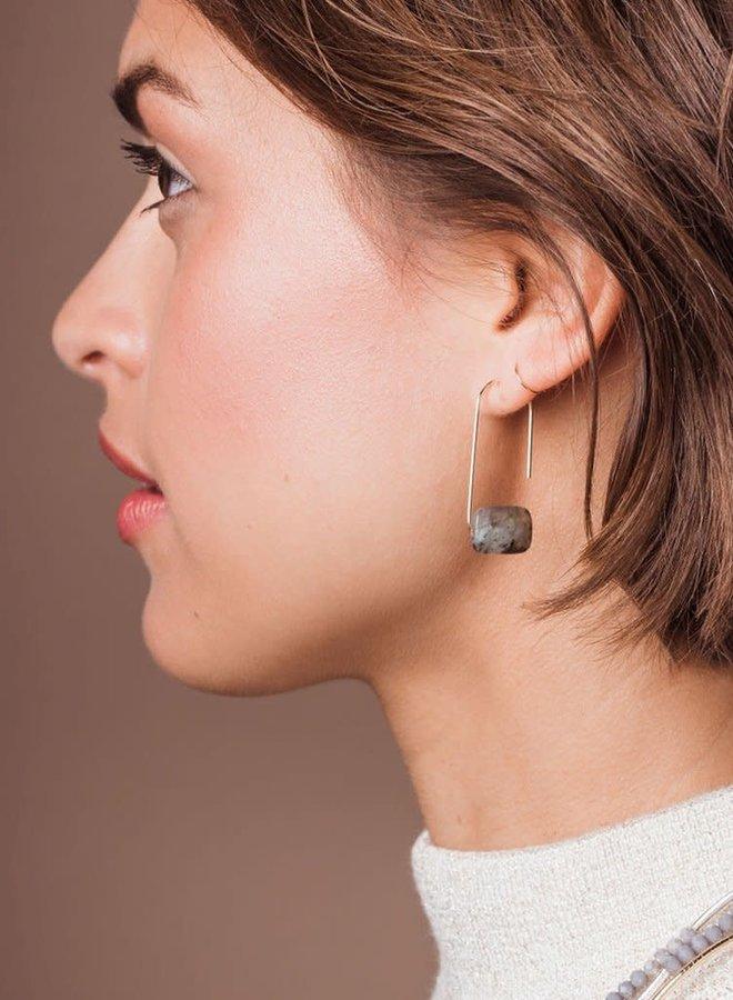 Boucles d'oreilles - Pierre flottante - Labradorite