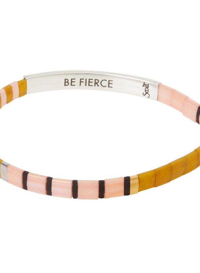 Bracelet Miyuki - Be Fierce - Rose et moutarde