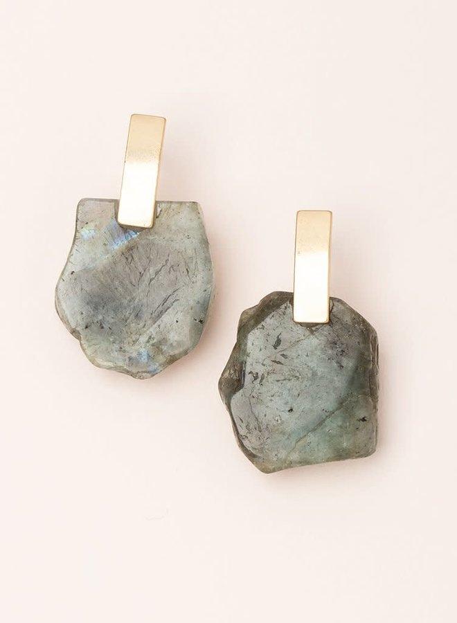 Boucles d'oreilles - Stone Slice - Labradorite