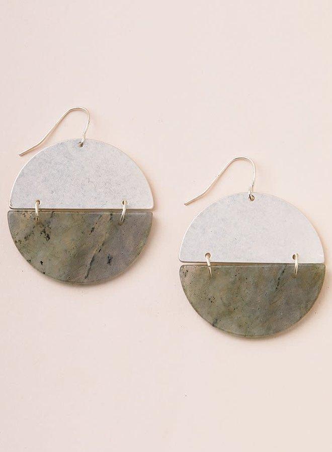 Boucles d'oreilles - Full Moon - Labradorite - Plaqué argent