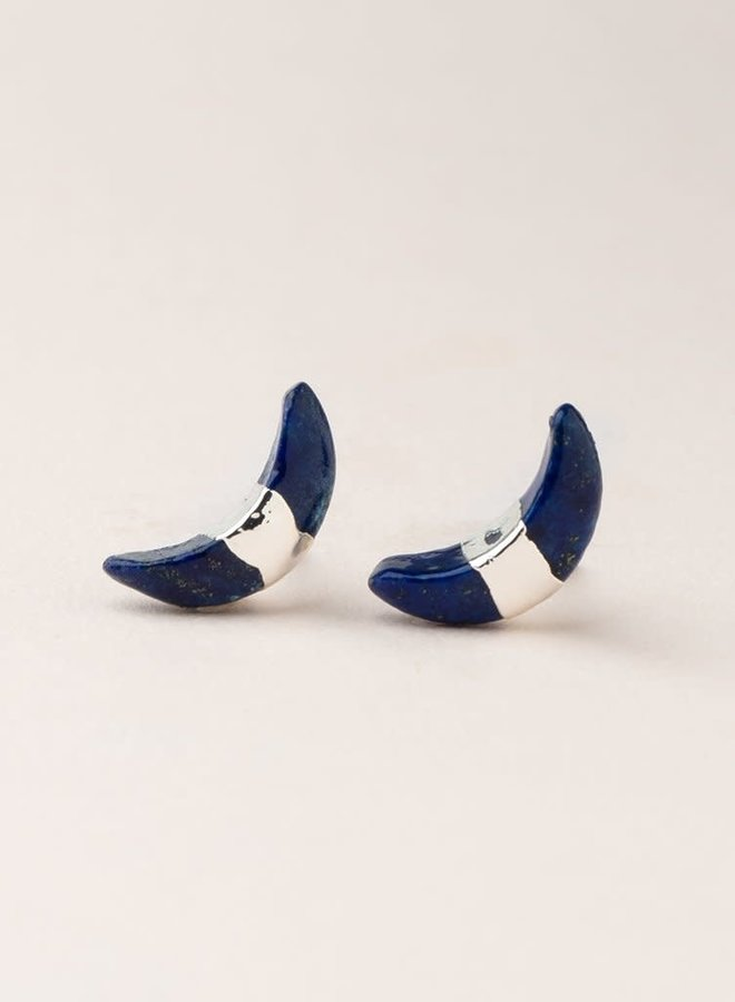 Boucles d'oreilles - Croissant de lune- Lapis - Plaqué argent