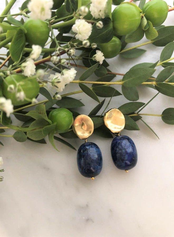 Boucles d'oreilles 1.5'' - Pastille et lapis lazuli