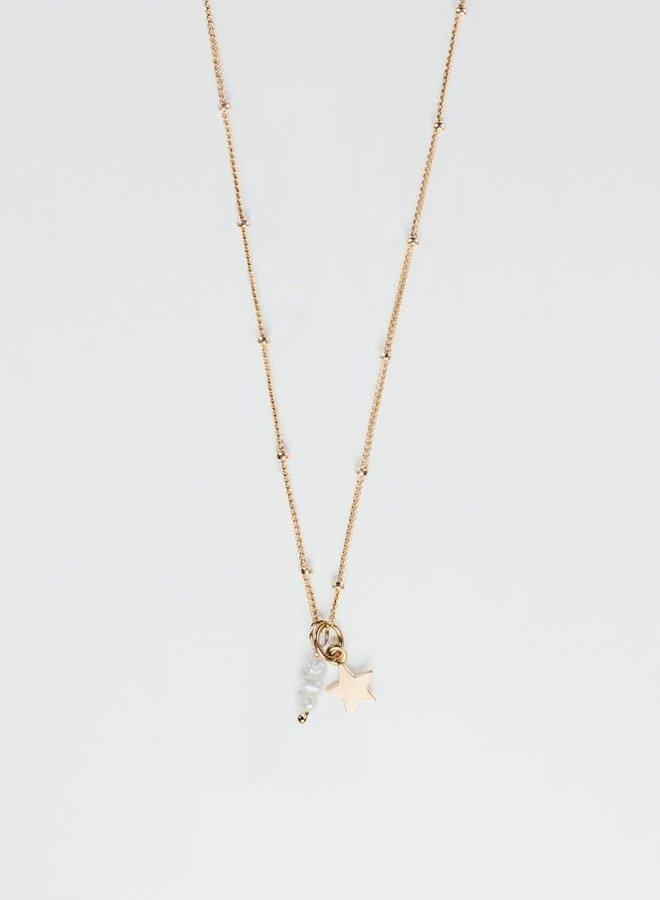 """Collier 16"""" - Perles d'eau douce et étoile"""
