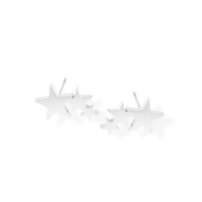 Boucle d'oreilles Triple étoile en acier inoxydable - Argent