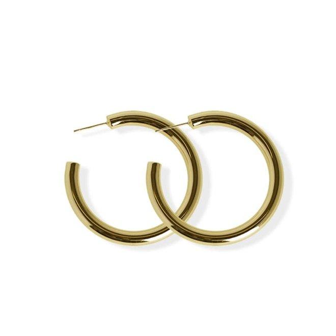 Boucles d'oreilles anneaux épais 40mm - Laiton plaqué