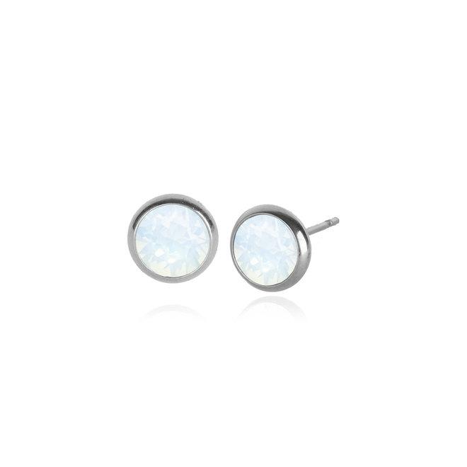 Boucles d'oreilles sur tige Swarovski opale blanche en acier inoxydable
