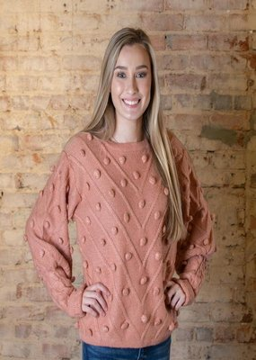 Entro Blush color large Swiss dot sweater - Monroe