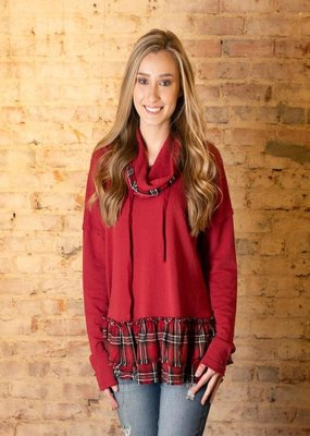 Oddi Red washed cotton pullover - Nellie