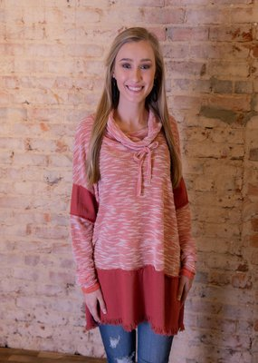 UmGee Cowl neck tunic with frayed hem - Cheyenne