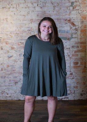 Heimish Olive dress with side pockets - Jordan