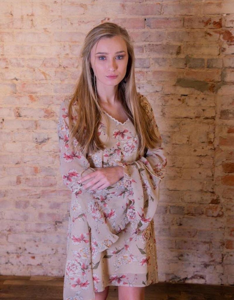 Kori America Daisy Floral 3/4 Sleeve Dress