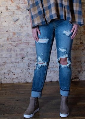 Judy Blue Mid Rise bleach splashed distressed boyfriend - Vanessa