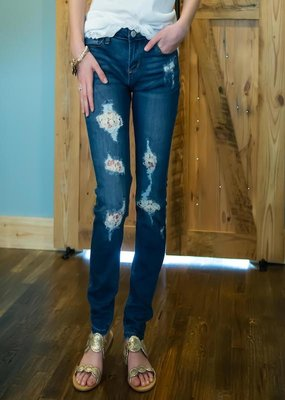 Judy Blue Lace patch skinny jeans - Gabriella