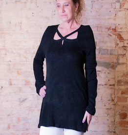 Jodifl Black top with square neck featuring crisscross detail-Dawn