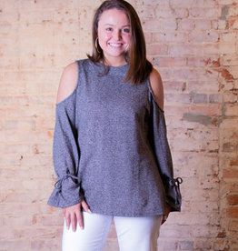 Mittoshop Cold shoulder tie sleeve knit top - Karen