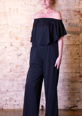 Kori America Black off the shoulder rounded ruffle jumpsuit-Beryl