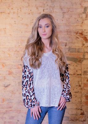 Entro Leopard print block v-neck top - Leona