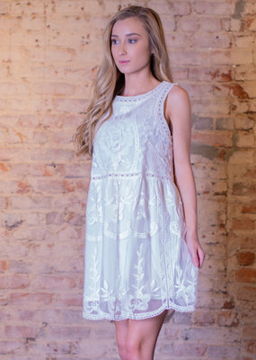 Entro White lace sleeveless mini dress - Adelyn