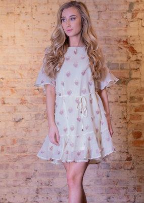 Entro Cream textured scoop neck mini dress - Cordelia