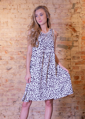 Jodifl Black & White print baby doll dress - Florie