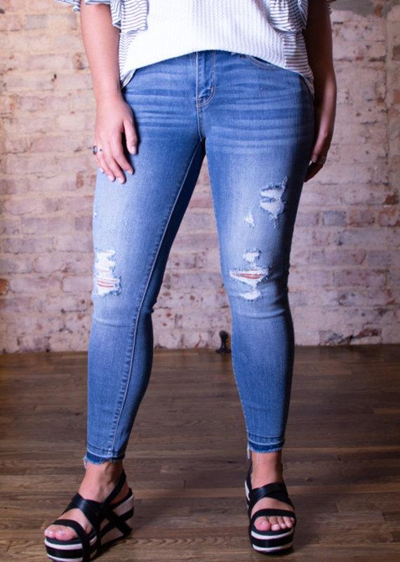 Judy Blue Raw Waistband Skinny Jeans - Dakota