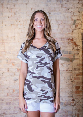 Mittoshop Terry camouflage front pocket top. - Gillie