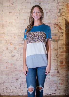 L Love Color-blocked animal print top - Ladye