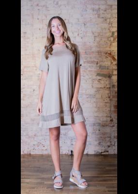 L Love Lace Contrast Shirt Dress - Lodelle