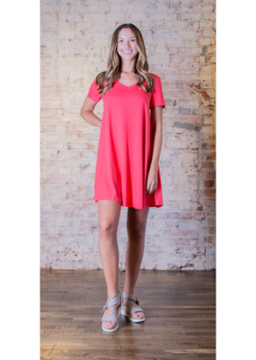 Entro Coral Shirt Dress - Deliah