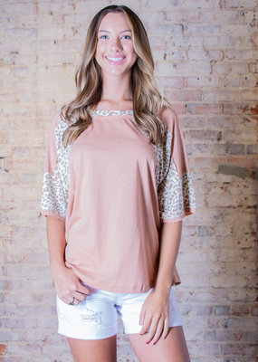 Easel Animal Print Mix Top - Daisy