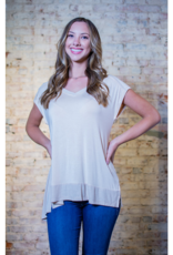 Kori Jolene  - Sand Color Rib Mixed Top
