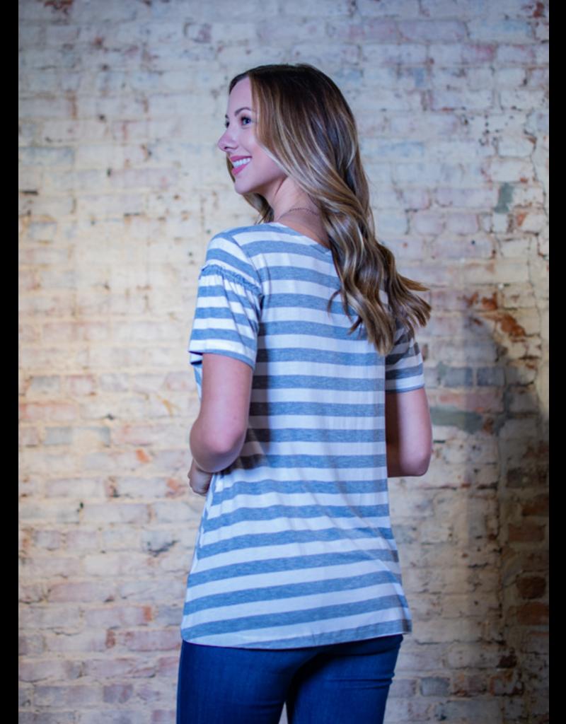 Hem & Thread Truetta - Ruffle Sleeve Striped top
