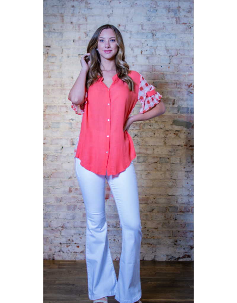 L Love Roslyn - Print & Solid Mix Hi Low Button Down