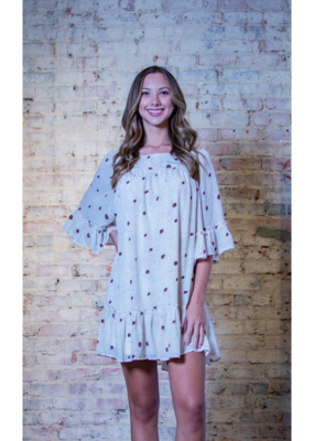 Entro Brown & White Dotted Print Dress - Harlowe